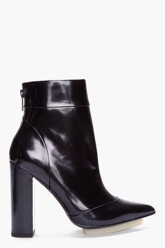 3.1 PHILLIP LIM Black Patent Peggy Ankle Boots $695