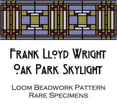 Loom Beadwork Pattern - Frank Lloyd Wright Oak Park Illinois Skylight - Cuff Bracelet - Beaded Tapestry - Bookmark - Hat Band - PDF download