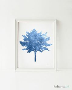 Blue Tree art print Blue wall art PRINTABLE art by EphericaArt