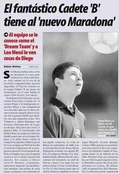 2001.Aun en edad Cadete,sino el primer articulo seguro uno de los primeros dedicados a Messi. Autor @romartinez70