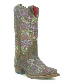 Love these too!  Love this Brown Flower Cowboy Boot - Kids by Macie Bean on #zulily! #zulilyfinds