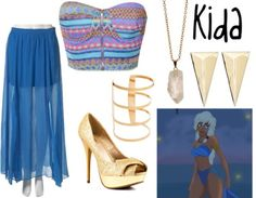"""Kida from """"Atlantis: The Lost Empire"""" Printed shirt, $30 / Pleated chiffon skirt / Promise Shoes peep toe pumps / Alexis Bittar pyramid jewelry / Zoya chain jewelry, $33 / ASOS cuff jewelry"""
