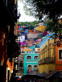 Colourful houses, Mexico