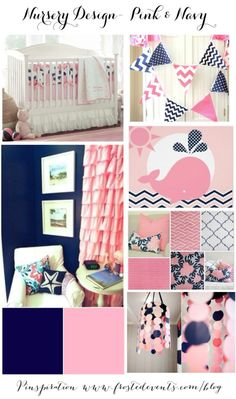 gray navy and pink nursery | Nursery Design- Pink & Navy Blue