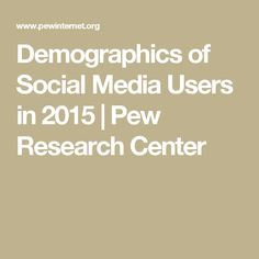 Demographics of Social Media Users in 2015 | Pew Research Center