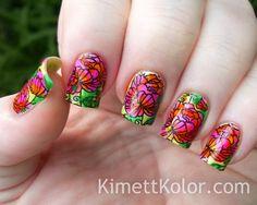 Nailpolis Museum of Nail Art | LeadLight Multicolor Stamping Floral Pattern by Kimett Kolor