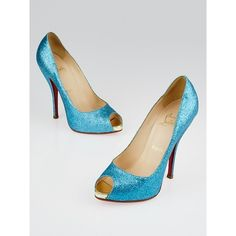 Pre-owned Christian Louboutin Turquoise Glitter Mini Titi 120 Peep Toe... ($325) ❤ liked on Polyvore featuring shoes, pumps, glitter peep toe pumps, christian louboutin pumps, peep toe flat shoes, platform flats and glitter flats