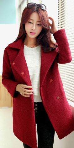 Loose Fit Korean Cashmere Coat YRB0394 £34.10 #asianfashion