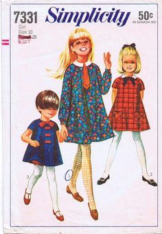 Simplicity 7331 Vintage Sewing PATTERN Girls size 10 Tent Dress Raglan sleeves #Simplicity