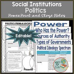 Sociology and Politics Middle School Ela, High School, Political Ideology, Politics, Sociology Class, Powerpoint Lesson, Social Studies Classroom, Secondary Teacher, School Subjects