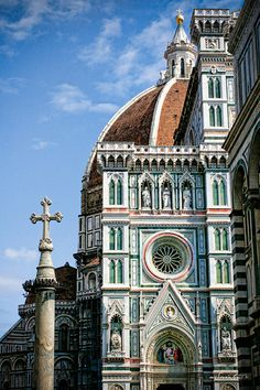Italy photography - Meet Me at The Duomo - Tuscany photo - church architecture - sculpture - terracotta, green, salmon