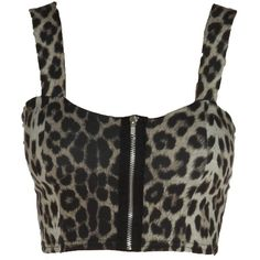 Brown Zip Detail Leopard Print Crop Top Bralet (10 CAD) ❤ liked on Polyvore featuring tops, shirts, crop top, bralet, bustier, brown shirt, bustier shirt, crop shirts, leopard print crop top and bralet crop top