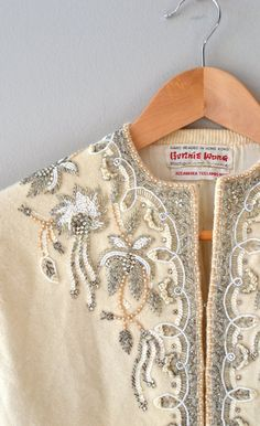 1950s beaded cardigan / 50s wool cardigan / beaded by DearGolden, $88.00
