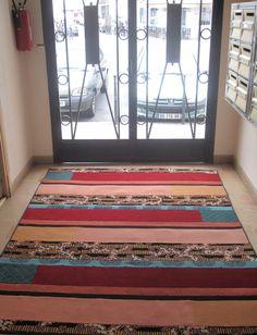 tapis rug carpet patchwork french création  tableau unique descente de lit tapis couloir pure laine wool upcycling