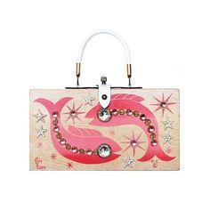 "Enid Collins of Texas 1964 ""fin fare"" box bag. #findingENIDwithLOVE #enidcollinsoftexas #enidcollins #finfare #fish #pink #vintagestyle #vintagebag #vintagepurse #1964 #fashiondesigner #art #anthropology"