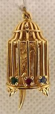 #JC14 14K Solid Gold 3D Movable Vintage Charm - Bird In A Cage
