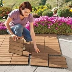 I wish I had known about these years ago! My porch would have been so much nicer. Vifah Deck Squares Turn boring cement into a beautiful wood-look deck that won't rot, splinter or split. Can get at ik - Click image to find more home decor Pinterest pins