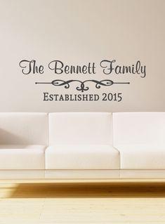 Custom Family Last Name Swirl Vinyl Decal Name Vinyl Wall Art - Custom vinyl decals for home