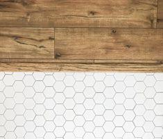 White Hexagon Tile Floor Against Light Grain Wood Floor // Guest Bathroom Renova. - White Hexagon Tile Floor Against Light Grain Wood Floor // Guest Bathroom Renovation Before and Aft - Wood Tile Floors, Diy Flooring, Kitchen Flooring, Kitchen Tile, White Tile Floors, Bathroom Floor Tiles, Wood Bathroom, White Bathroom, Bathroom Cabinets