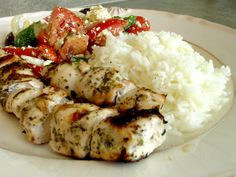Souvlaki chicken with rice & veggies. Don't forget the warm pita bread! -- A yummy Greek dish!