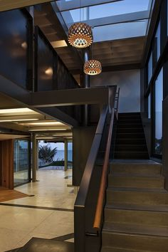 Stairs. Takapuna House by Athfield Architects