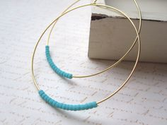 Matte Turquoise Seed Bead Hoop Earrings Large Gold by shoprhubarb, $12.00