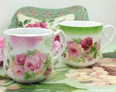 Vintage Home - Pretty Victorian Roses Cups.