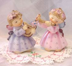Vtg LEFTON GIRL ANGELS w BIRDS,Flower,Flute & Harp 2 Porcelain FIGURINE SET #149