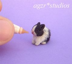 OOAK 1:12 Dollhouse Miniature Bunny Rabbit Baby Furred Pet Handmade Realistic