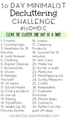 Minimalist Declutter Challenge: 30 Days to Declutter Your Home - - Do you feel like clutter is taking over your life? Then you need to try this 30 Day Minimalist Declutter Challenge I created! Minimalism Challenge, The Flylady, Minimalism Living, Motivation, Vie Simple, Declutter Your Home, Minimalist Lifestyle, Life Organization, Organizing Life
