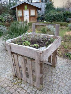 Potager en carré surélevé, jardin partagé Le poireau agile, Jardin Villemin, Paris 10e (75), janvier 2011, photo Alain Delavie