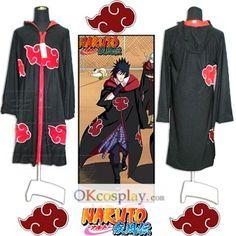 Naruto Akatsuki Uchiha Sasuke Cosplay Costume Cap Robe
