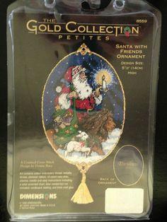 Cross Stitch Kit 'Santa With Friends' Ornament Christmas 2000 NIB #Dimensions #CountedCrossStitch