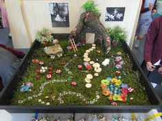 Fairy Garden small world for reception class. A roll of real turf from the garden centre. Tuff Spot, Sensory Table, Sensory Bins, Reggio Emilia, Reception Class, Role Play Areas, Tuff Tray, Sensory Garden, Small World Play