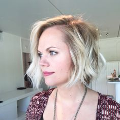 Platinum Lived in hair. textured bob haircut