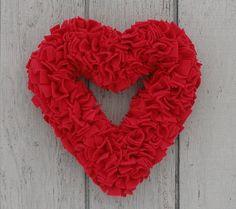 15 Handmade Fleece Rag Wreath  Ruby Red by LushWreathWorks on Etsy, $40.00