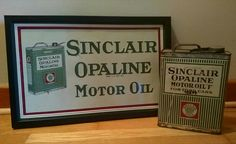 Original 1920's Sinclair Opaline Motor Oil Tin Sign & Oil Can