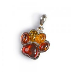 Amber and Silver Paw Print Pendant with Silver Chain Animal Lover Jewellery