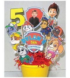 Paw Patrol Birthday Party Centerpiece Birthday Invitations with New Pup Everest   eBay