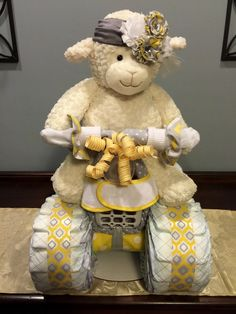 Little Lamb Diaper Bike, Diaper Cakes, Diaper Creations, Baby Shower Centerpieces, Baby Gifts