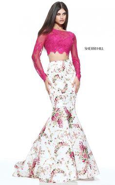 Long Sleeve Plum Ivory Print Sherri Hill 51064 Two Piece Prom Dress