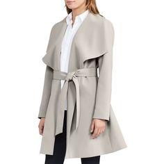 Women's Lauren Ralph Lauren Belted Drape Front Coat (58 KWD) ❤ liked on Polyvore featuring outerwear, coats, new cork, collar coat, lauren ralph lauren coats, lauren ralph lauren, belted coat and belted wrap coat