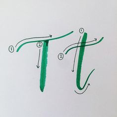 """T is a fairly simple letter. Only two strokes that are mostly straight lines. This makes it a good letter to practice because it allows you to focus only on thick & thin lines. You'll notice in the capital T I actually did the thin """"cross"""" line first and then made the body of the letter. This helped me to position the top of the letter exactly where I want it. Get out some pens & tag me in your practice! Almost done with the alphabet. Thanks for hanging around to the end! Check out #lyssabcs…"""