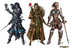 Paizo Pathfinder-Druids And Warriors1 Picture  (2d, fantasy, pathfinder, druid, elves, elemental, rpg, creatures)