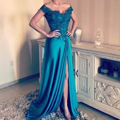 2017 Cap Sleeve Prom Dress, Off The Shoulder Prom Dress, A Line Long Prom Dress, Sexy V Neck Party Dress, Split Side Chiffon Formal Evening Dress, Elegant Party Dress 2017, Hunter Green Lace Appliques Prom Dress, 2017 Vestidos De Festa, Cheap Abendkleider 2017