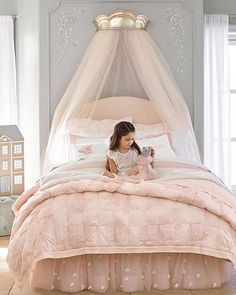 The Monique Lhuillier for Pottery Barn Kids Collection Just Launched (And It's… Girls Bedroom Decor Princess Bedrooms, Big Girl Bedrooms, Little Girl Rooms, Little Girls Room Decorating Ideas Toddler, Childrens Bedrooms Girls, Princess Canopy Bed, Pink Bedrooms, Shared Bedrooms, Baby Bedroom
