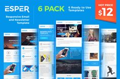 Esper - [Bundle] 6 Email Templates by Maesto on Creative Market #email #newsletter #template #marketing