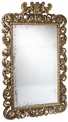 Pistoia Mirror by Ebanista- so chic in gold Fancy Mirrors, Fairest Of Them All, Beautiful Mirrors, Elegant Homes, Antiques, Frame, Wall, Winter Wonderland, Furniture