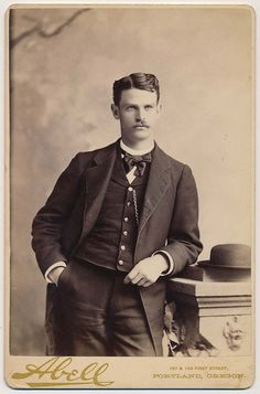 Handsome Mustache Man in Dapper Suit Hat Vtg Cabinet Card Photo