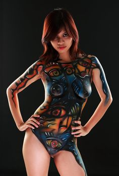 Absolutely Indonesian nude girls body painting seems